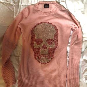 E.vil skull super soft pink cashmere sweater